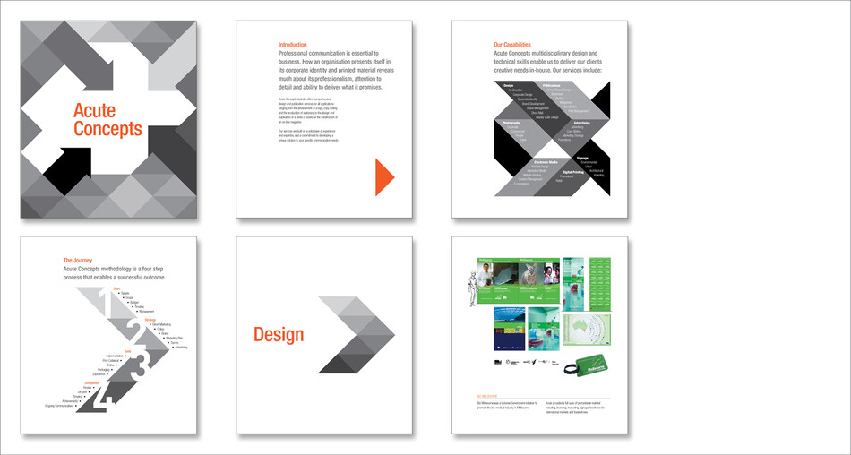 Acute Concepts corporate brochure. Design layout.