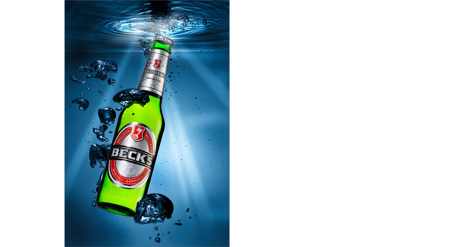 Beck's Beer Bottle, beer, underwater, studio photography